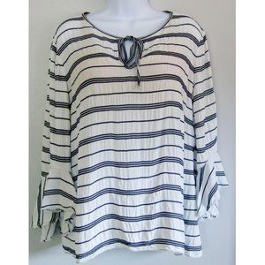 Max Edition Blouse Gray & White Size Large